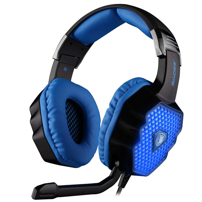 Sades A70 7.1 de Sonido Envolvente estéreo PC Gaming Headset Auriculares Diadema con micrófono de Alta fidelidad de Control Remoto del Enchufe USB ...