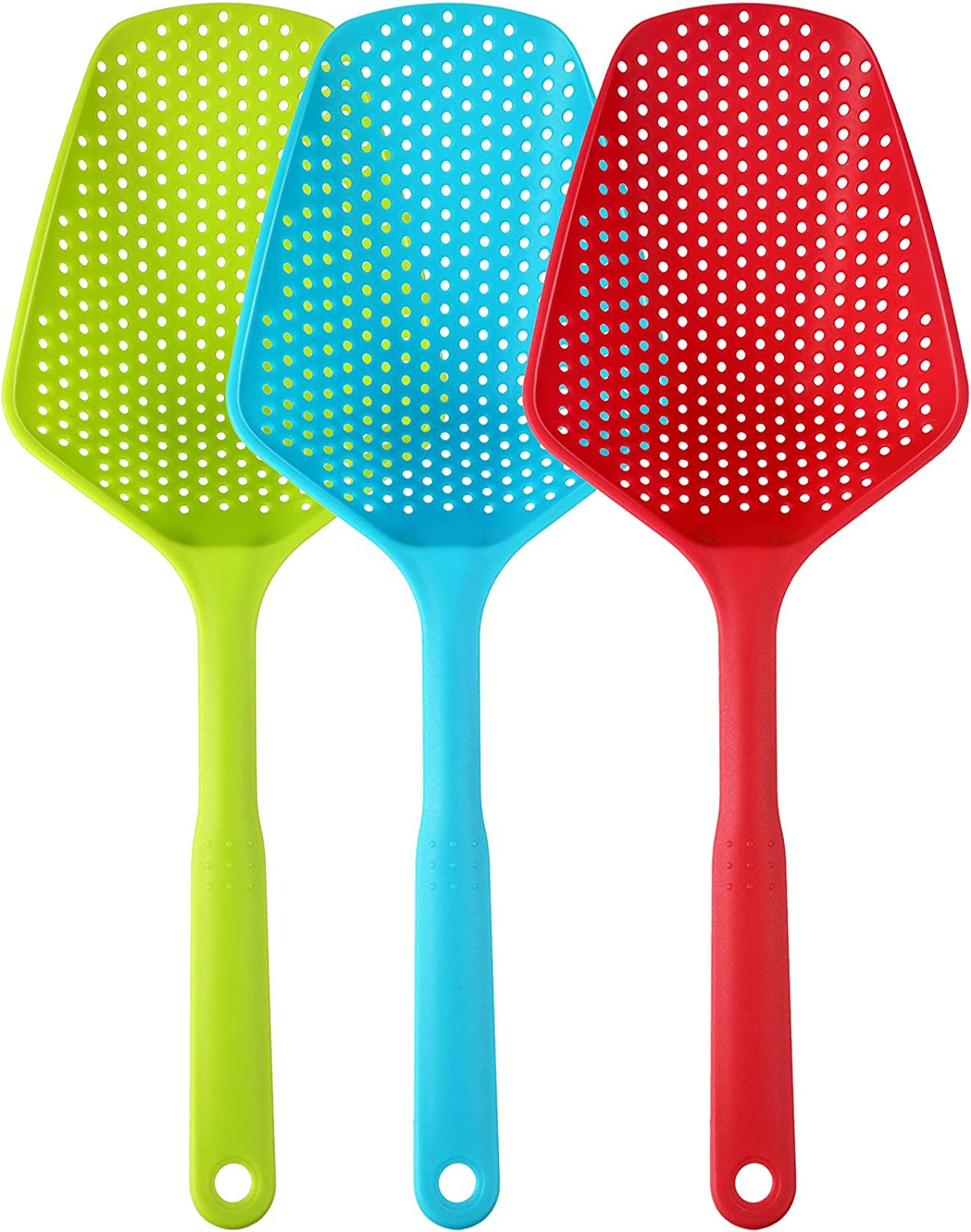 3 Pieces Scoop Colander Kitchen Strainer Scoop Food Drain Shovel Nylon Slotted Skimmer with Handle for Kitchen Cooking Baking Drain, Red Blue and Green