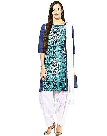 3679843723 Jaipur Kurti Women's Straight Salwar Suit (JKPTD2492_Turquoise blue_Small)