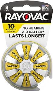 Rayovac 10-8 Size 10 75mAh1.45V Zinc Air Hearing Aid Batteries - 8 Piece Retail Card