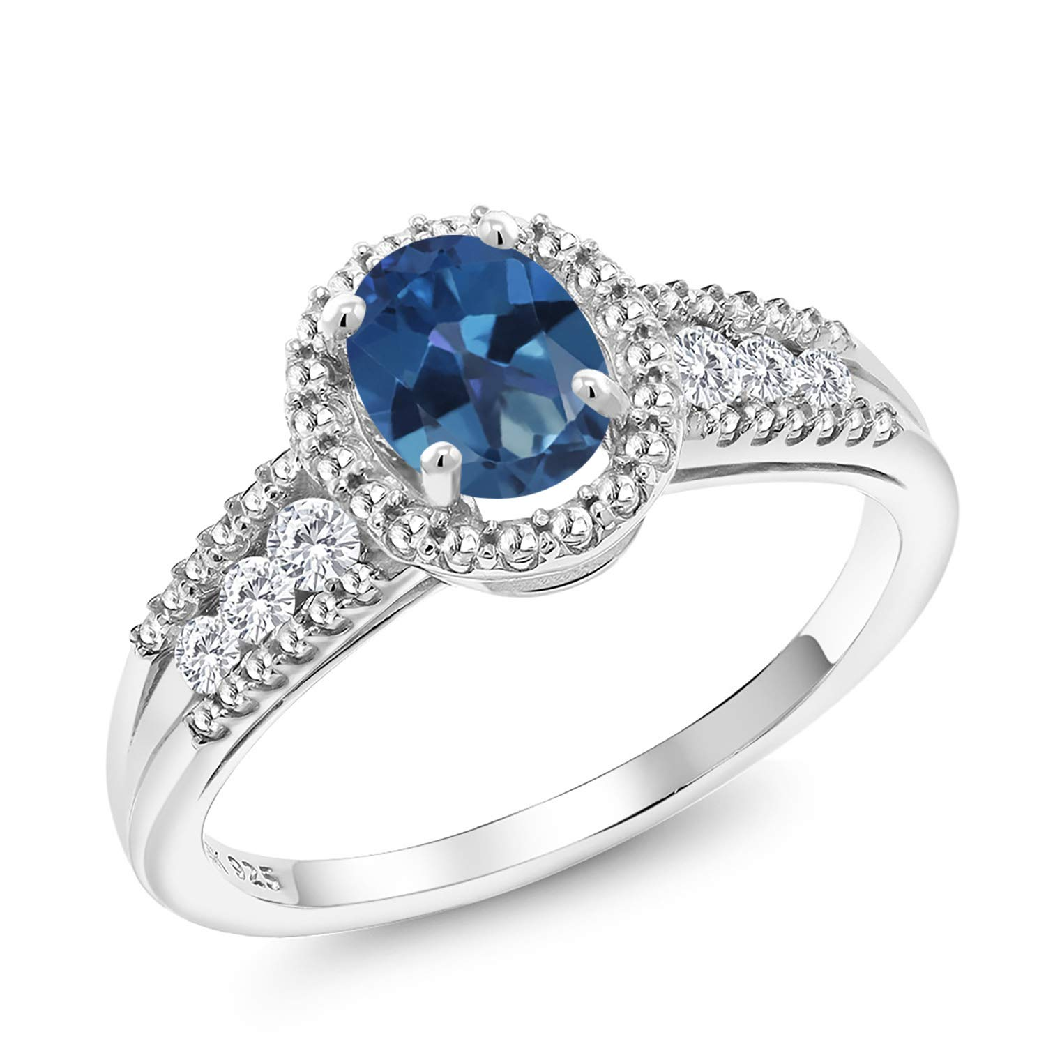 Gem Stone King 1.04 Ct Oval Blue Mystic Topaz White Created Sapphire 925 Sterling Silver Ring