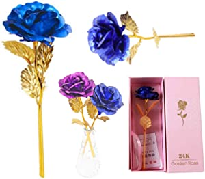 LINGWEI Forever Roses Flower 24k Gold Dipped Rose with Luxury Gift Box Best Women Gifts for Mother's Day, Thanksgiving Day, Christmas, Birthday, Anniversary (Blue Rose)