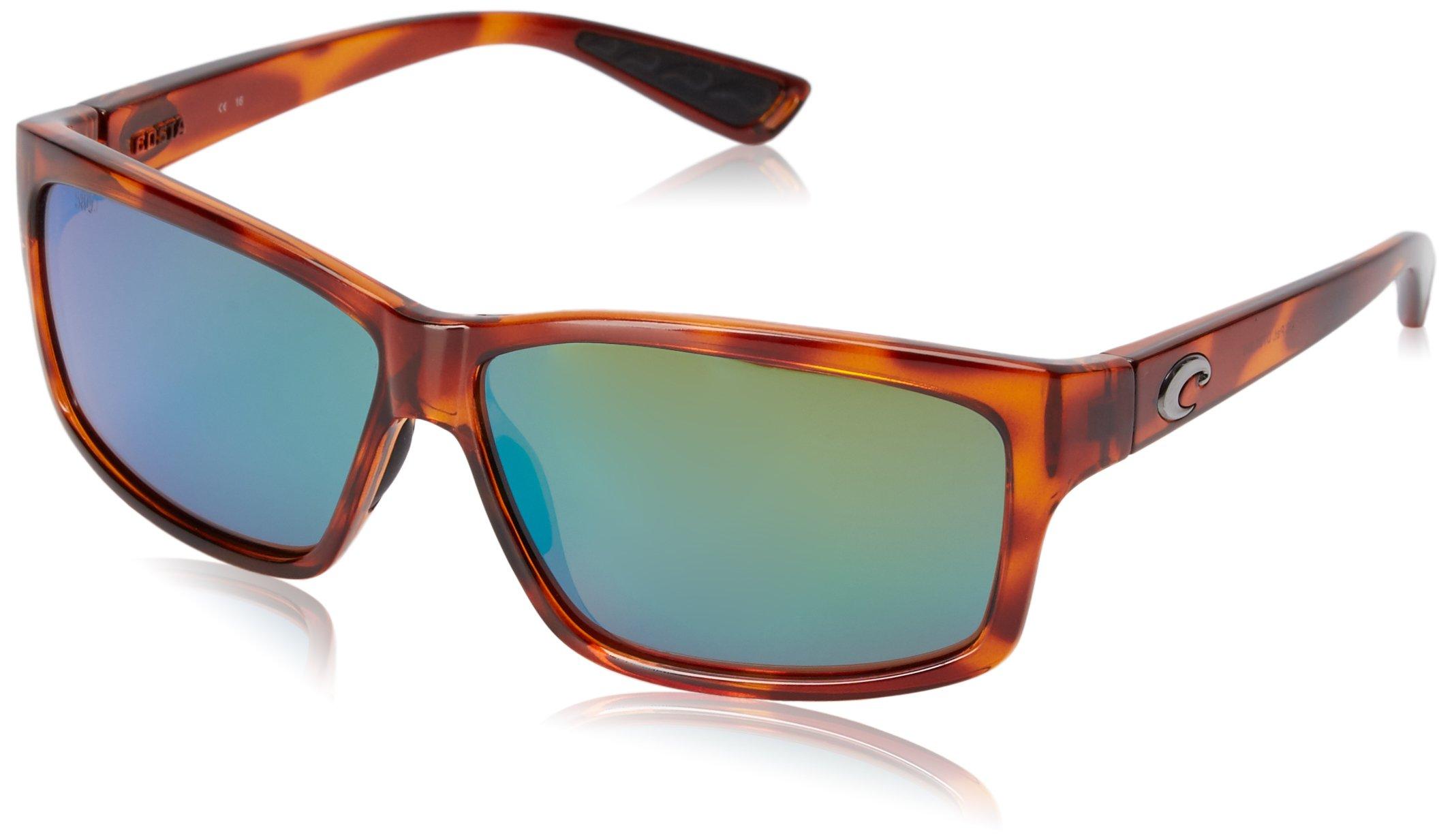 Costa del Mar Cut Polarized Rectangular Sunglasses, Honey Tortoise/Green Mirror 580 Glass