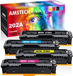 Amstech Compatible Toner Replacement for HP 202A CF500A HP Color Laserjet Pro MFP M281fdw Toner MFP M281cdw M254dw M281fdn M254 M281 HP 202X Toner Cartridges (Black Cyan Yellow Magenta, 4-Pack)