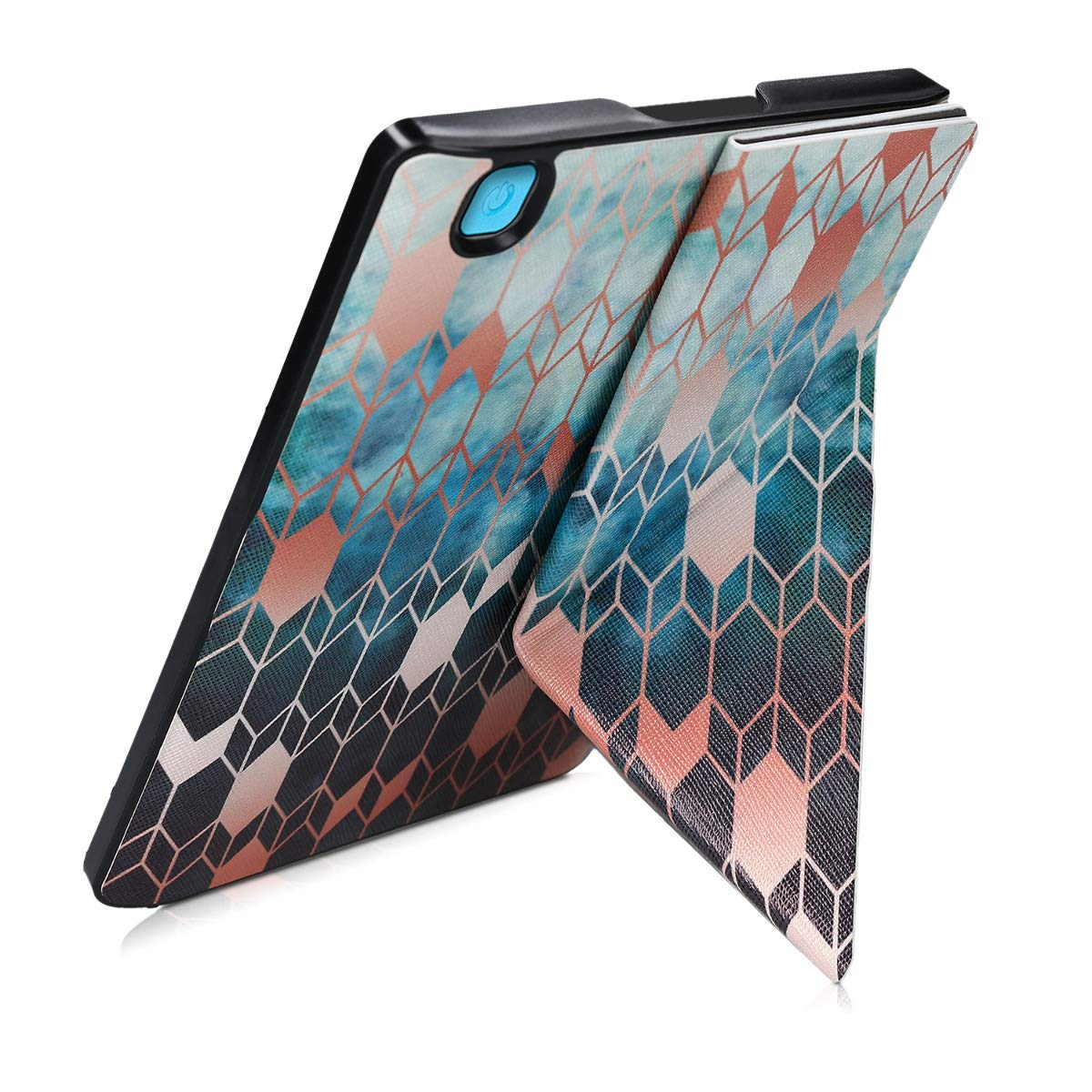 kwmobile Origami Case for Kobo Aura H2O Edition 2 Ultra Slim Fit Premium PU Leather Cover with Stand Blue//Rose Gold