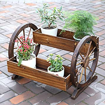HIMFL Maceta de Carretilla de Madera para Plantas, Interior/Exterior jardín, Ventana: Amazon.es: Deportes y aire libre