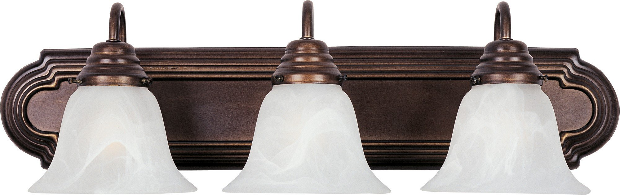Maxim 8013MROI Essentials 3-Light Bath Vanity, Oil Rubbed Bronze Finish, Marble Glass, MB Incandescent Incandescent Bulb , 60W Max., Dry Safety Rating, Standard Dimmable, Metal Shade Material, Rated Lumens