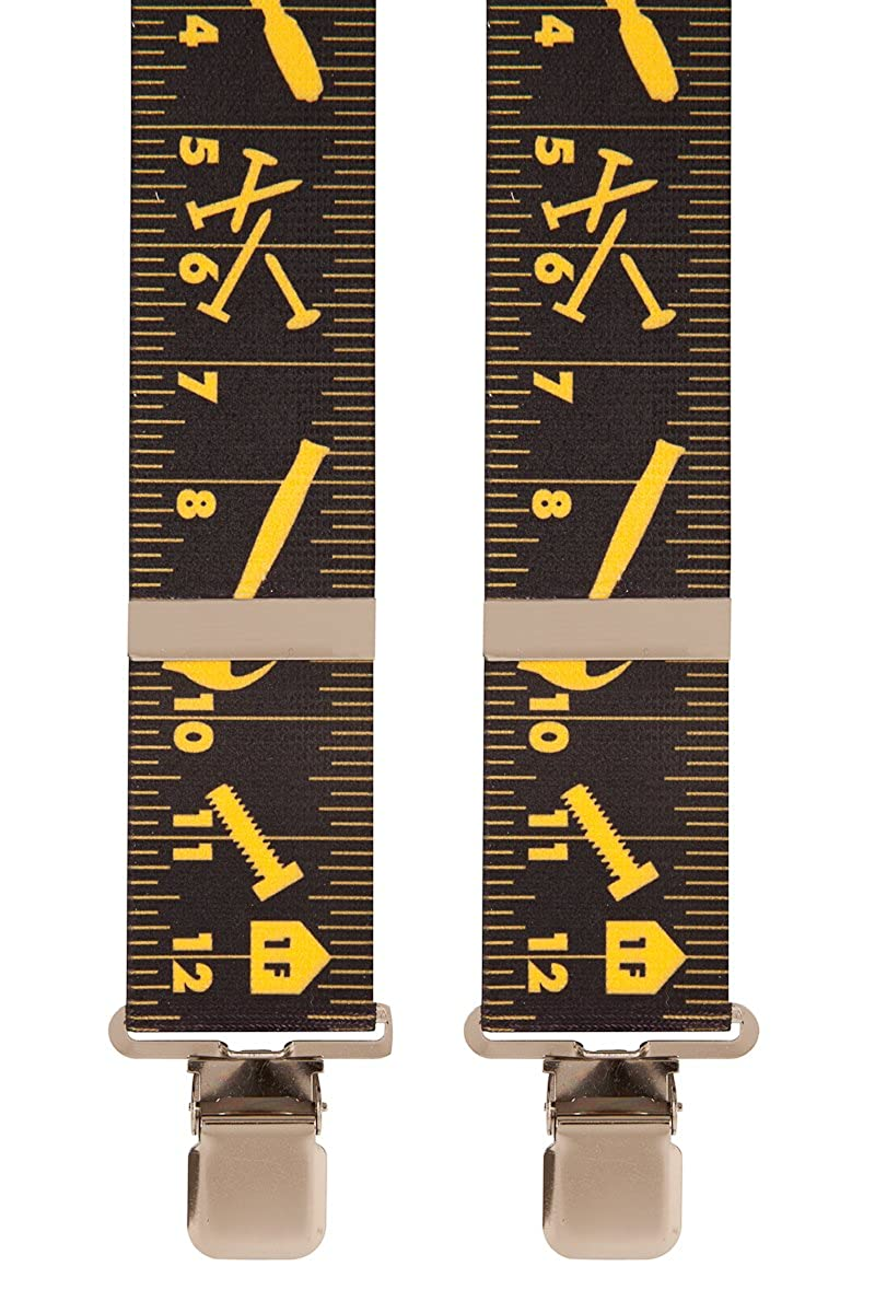 Black Yellow Tape Measure Work Novelty Trouser Braces Mens Suspenders Brimarc Tools & Machinery