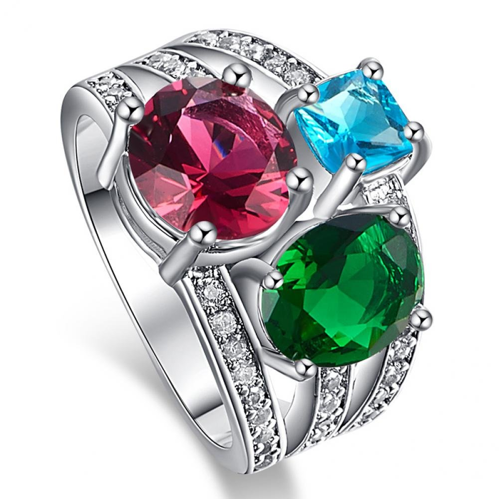 LeoBon Party Rings for Women Pink Tourmaline London Blue Topaz Emerald White CZ Diamond 18K White Gold Plated Jewelry