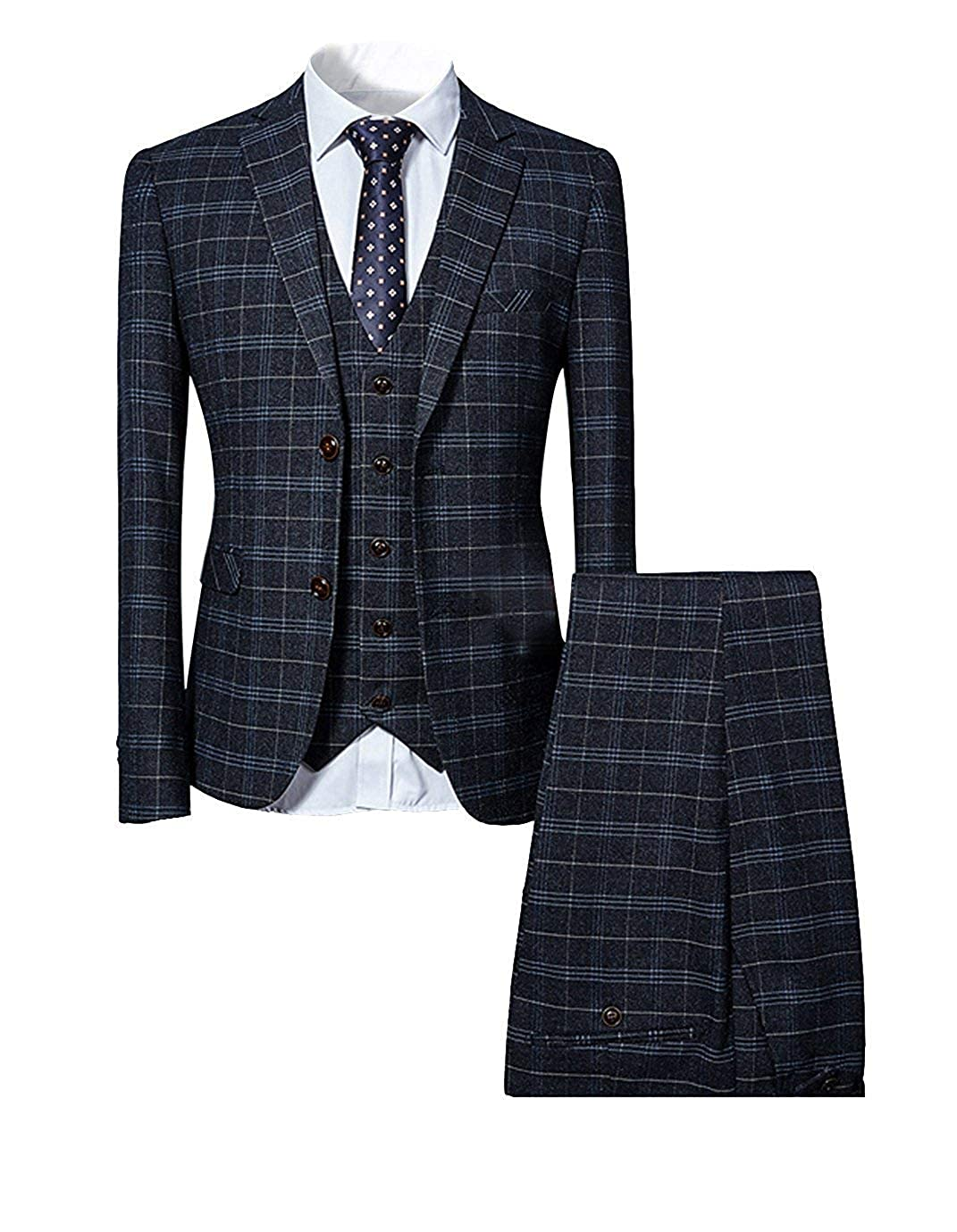 LoveeToo Mens New 3 Piece Slim fit Checked Suit Blue//Black Single Breasted Vintage Suits