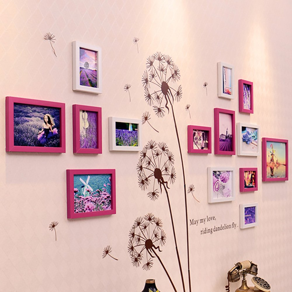 Collage picture frame wall photo frames Photo Wall, Living Room Bedroom Photo Wall Creative Combination Of Wall-mounted Photo Frame, 14 Boxes (Color : White+brown)