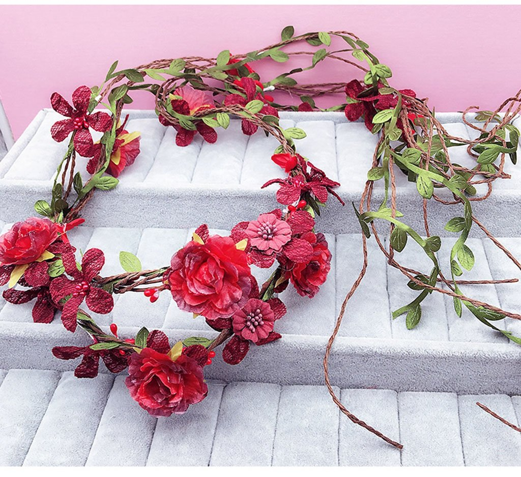 Wreath Flower, Headband Flower Garland Handmade Wedding Bride Party Ribbon Headband Wristband Hairband Bule (Color : B)