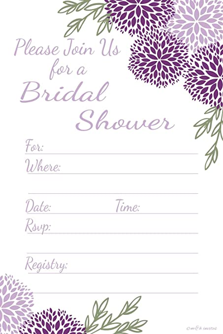 purple floral bridal shower invitations fill in style 20 count with envelopes