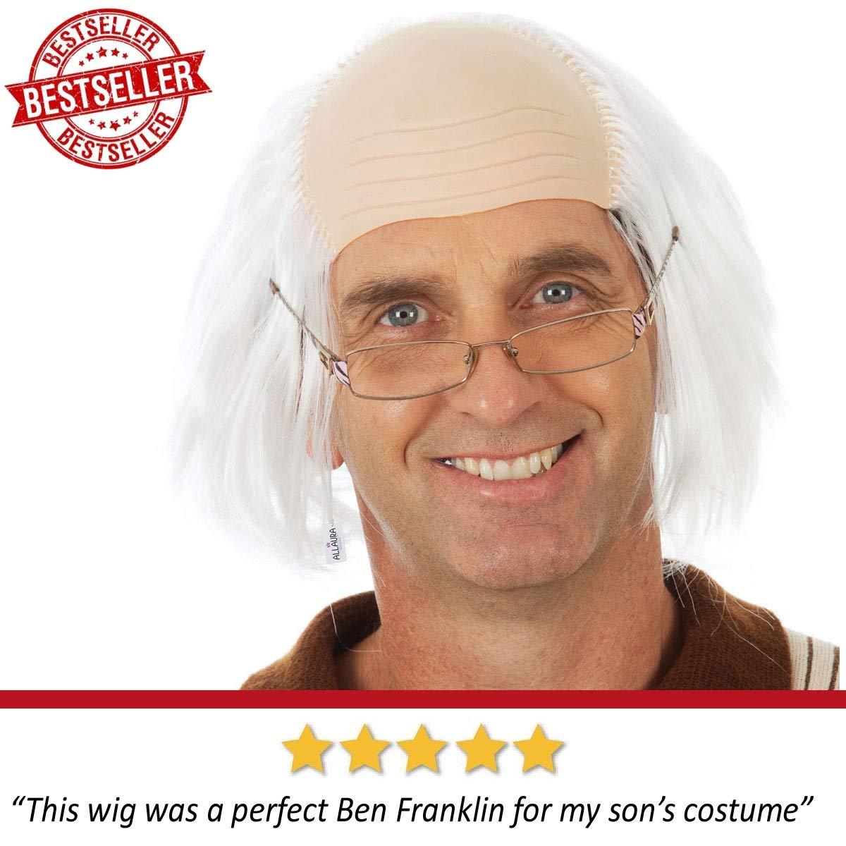 Amazon.com: Allaura Old Man disfraz de pelo blanco abuelo ...