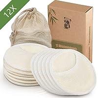 12 Stück Waschbare Abschminkpads und wiederverwendbare Abschminkpads aus Bambus,1 Waschsack aus Baumwolle,Umweltfreundliche Alternative zu Wattepads,Less Waste | Extrem Weich (Pads)