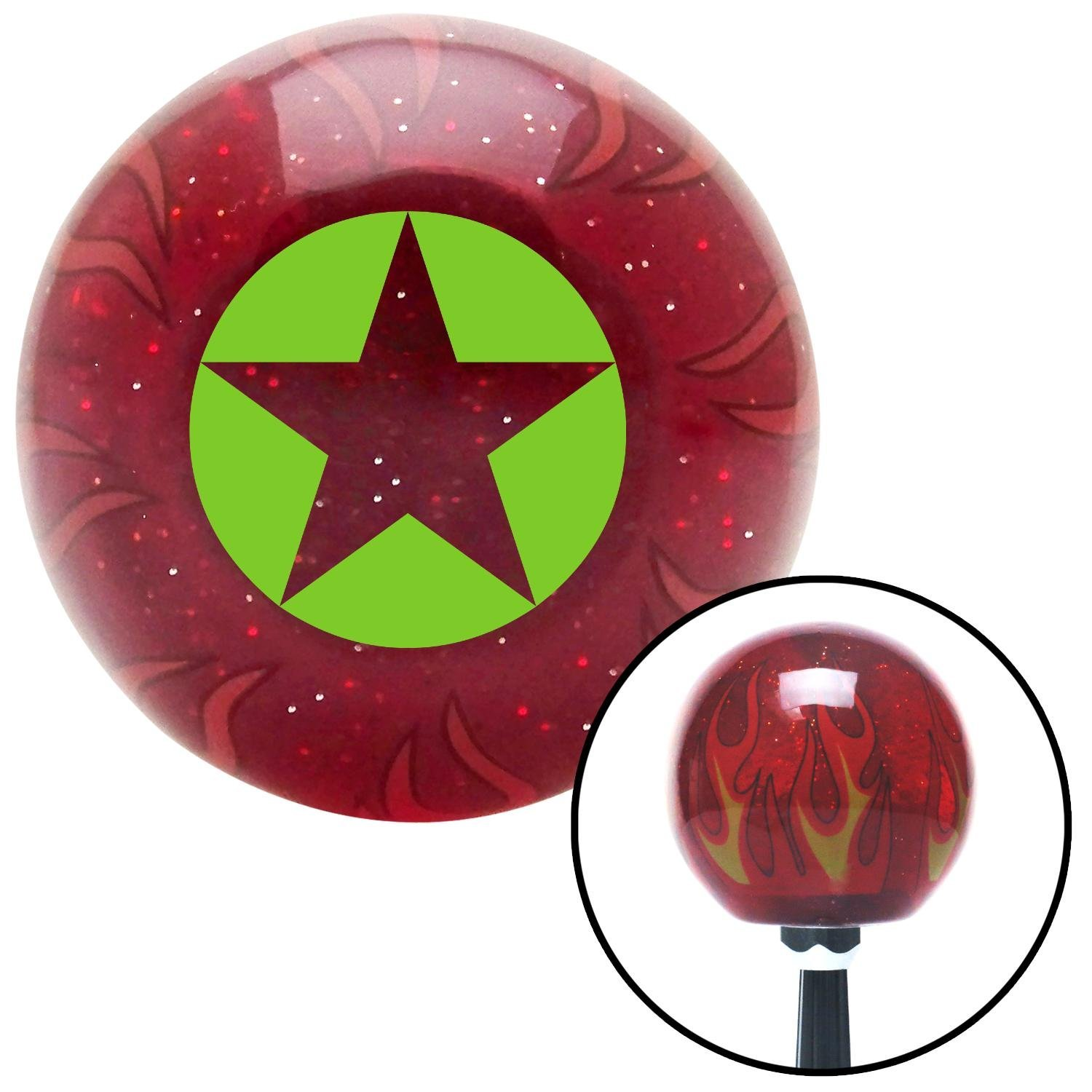 American Shifter 241893 Red Flame Metal Flake Shift Knob with M16 x 1.5 Insert Green Star in Circle
