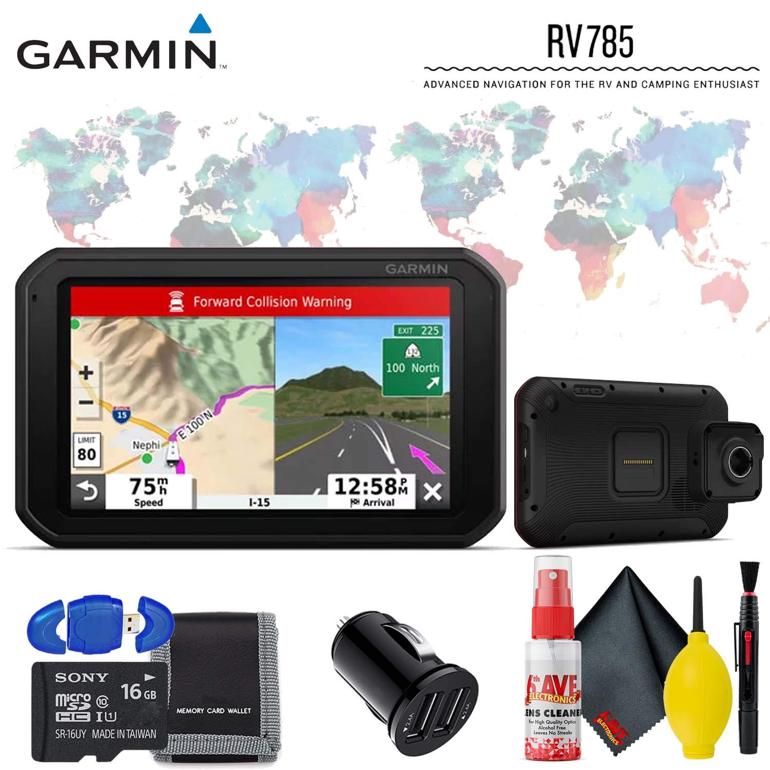 Garmin RV 785 & Traffic, Advanced GPS Navigator for RVs with Built-in Dash Cam, 7'' Touch Display and Voice-Activated Navigation Advanced Accessory Kit by Garmin