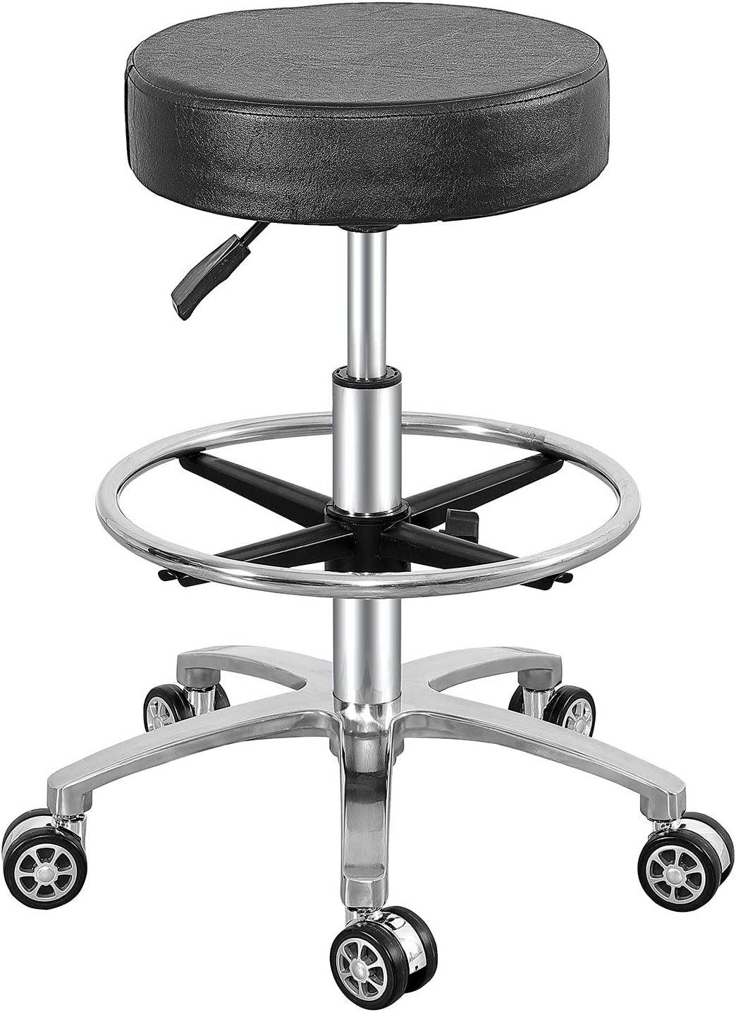 Rolling Stool Swivel Chair for Office Medical Salon Tattoo Kitchen Massage Work,Adjustable Height Hydraulic Stool with Wheels (Black, with Foot Rest)