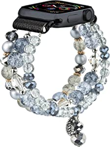 CAGOS Bracelet Beadeds Compatible with Apple Watch Band 42mm/44mm Series SE/6/5/4/3/2/1 Cute Handmade Fashion Elastic Stretch Beaded Strap Replacement with Stainless Steel Adapter for iWatch Gray