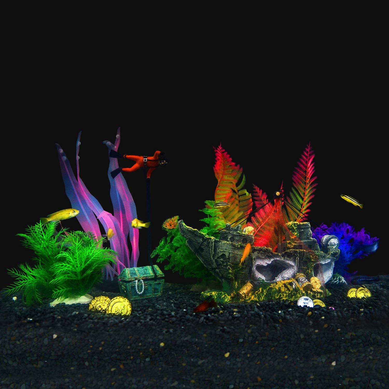 Aquarium Fish Tank Decorations Theme Set Plastic Plants Fish Cave – Aquarium Castle Mermaid Ornaments,Pirate Ship,Egypt Pyramid,Shipwreck Hideouts,Fish Tank Accessories Décor (Pirate Ship Theme)