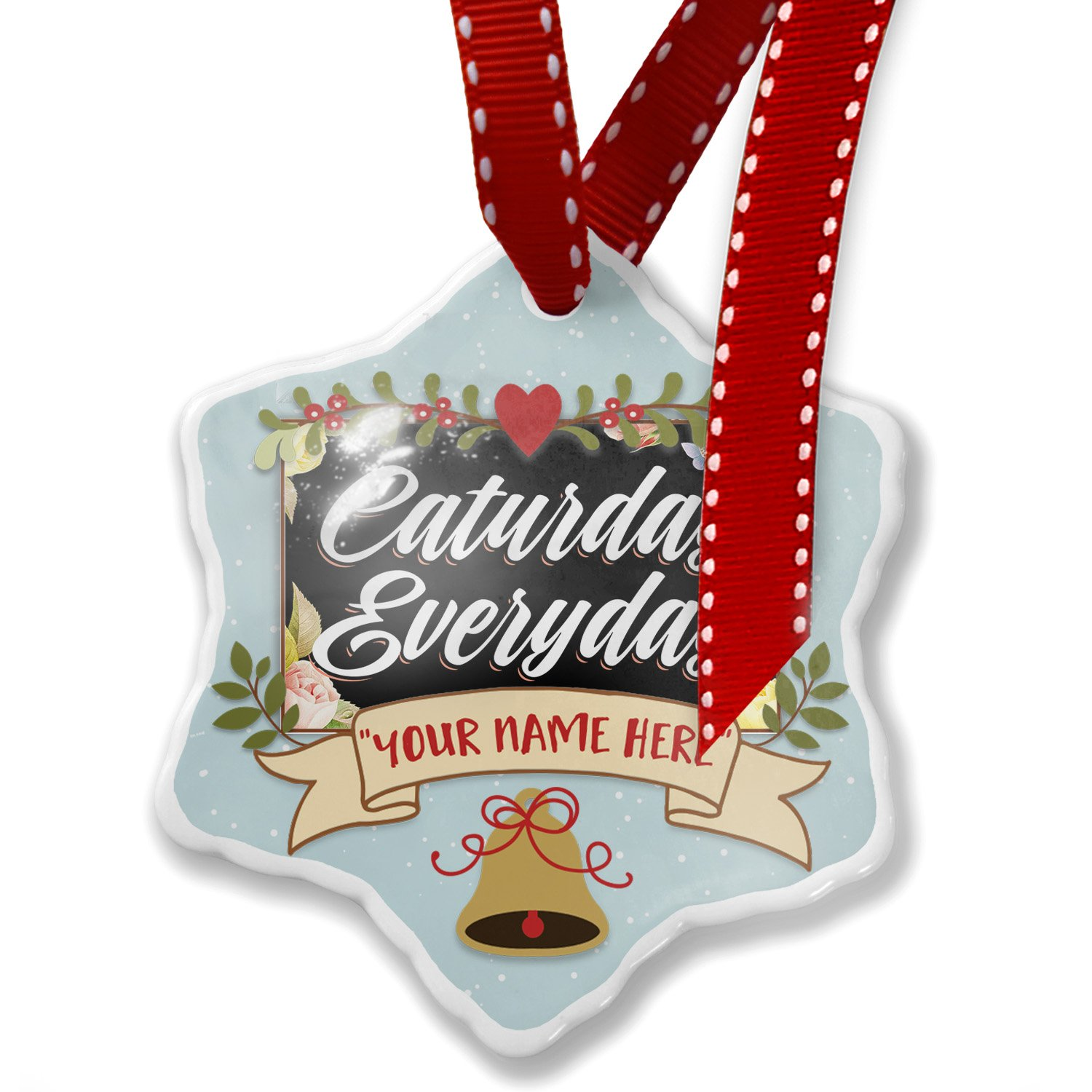 Add Your Own Custom Name, Floral Border Caturday Everyday Christmas Ornament NEONBLOND