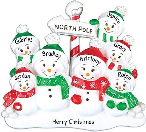 North Pole 7 Snowmen Family Personalized Christmas Ornament Family Ornament 2021 Ornament Seven Snowman Ornament