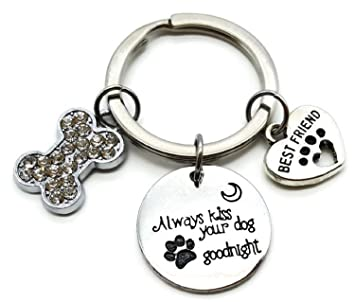 Dog Keychain, Pets Keychain, Dog Charm Keychain, Dog Bone Keychain, Best Friend, Dog Paw Print Keychain, Gift for Dog Lover, Dog Key Ring