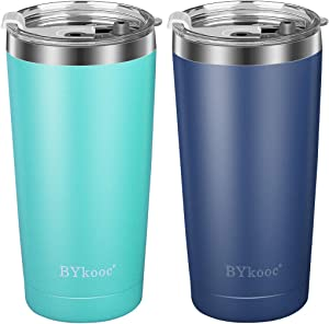 20 oz Tumbler with lid,BYkooc Stainless Steel Travel Coffee Mug and Straw,Vacuum Insulated Tumbler Cup,Double Wall Coffee Tumbler for Home,Office(Navy Blue + Mint Green)