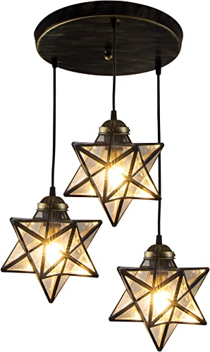 HAIXIANG Transparent Glass Moravian Star Pendant Lamp Ceiling Lighting Chandelier LED Iron Art 3 Lights Round Base Light Fixtures Bedroom Dining Room Living Room Office Restaurant Bar Cafe