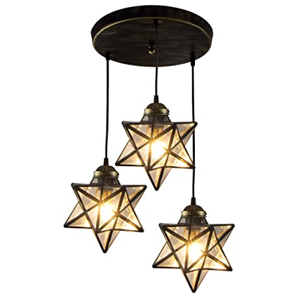 HAIXIANG 3 Lights Round Base Moravian Star Chandelier Lighting Iron ...