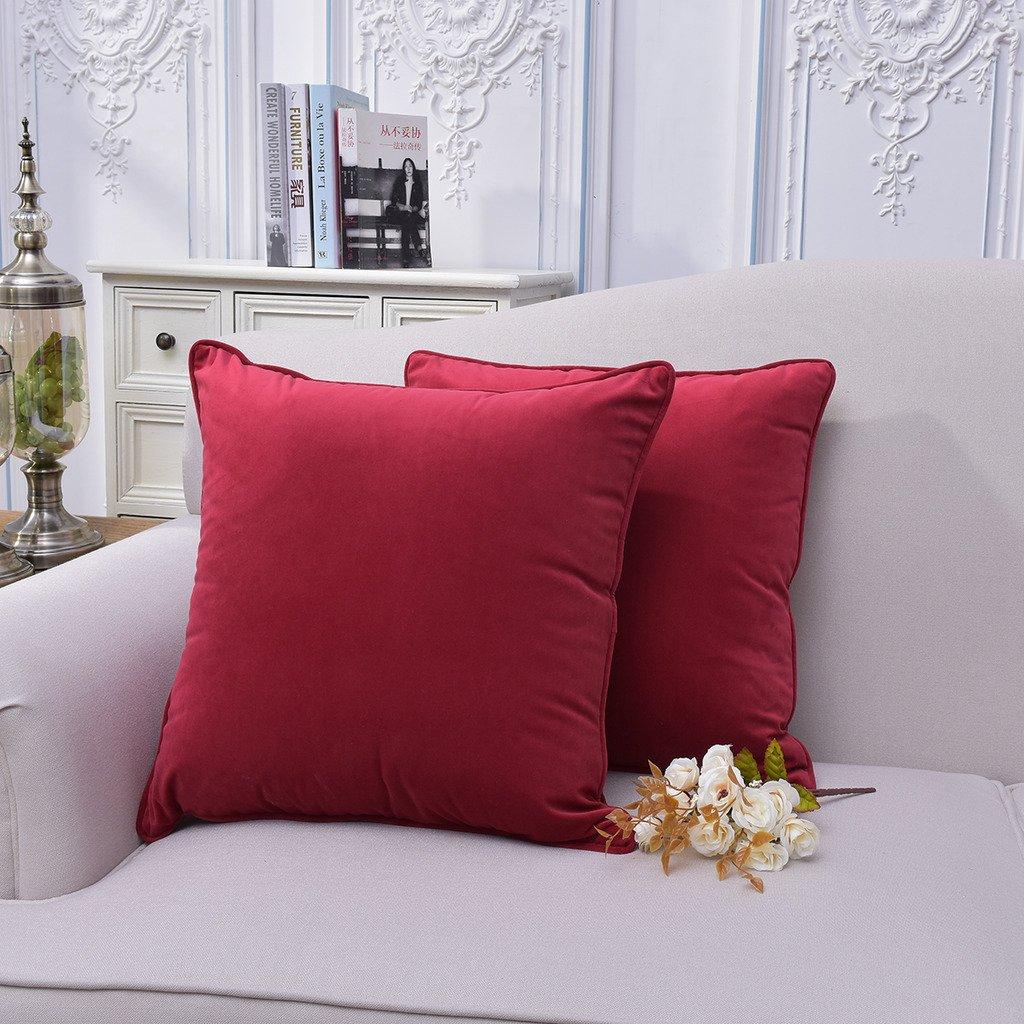 Amazon Com Firet Velvet Throw Pillow Cover 20 X 20 Ultra Soft  ~ Red Throw Pillows For Sofa