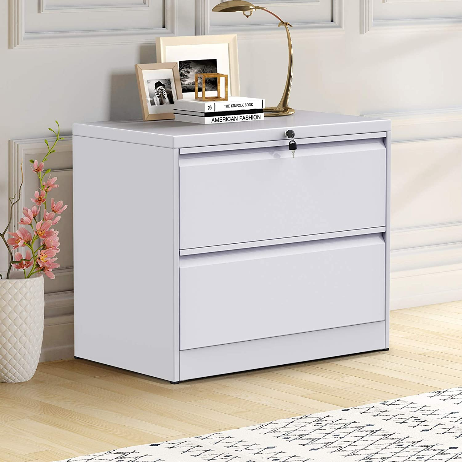 Lateral File Cabinet Metal Steel Lockable Filing Cabinet With Keys 2 Drawers White Office Products