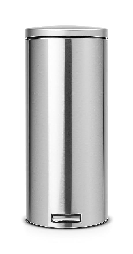 Brabantia Pedal Bin 478888 - Cubo de Basura doméstico de Acero Inoxidable con Pedal, 30 litros, Color Gris Metalizado Anti-Huellas