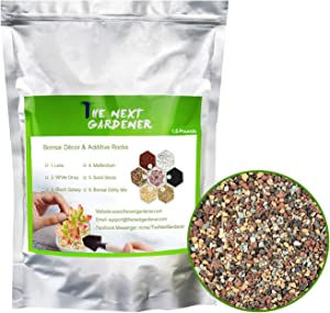 The Next Gardener Succulent and Cactus Bonsai Gritty Mix Rocks, DIY Additive Pre-Mixed Faster Draining Blend, No Root Rot, 1.5lb