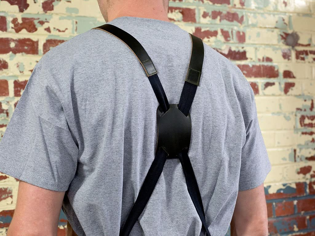 Waxed Canvas and Leather Apron with Cross Straps Adjustable for Most Waist Sizes for Men Women Vintage Heavy Duty Apron for Butcher Metal Working Handmade in USA Barber