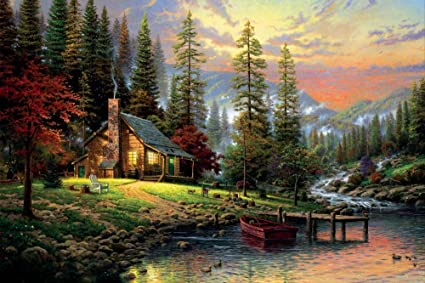 faim paintings canvas print of landscape art home in the nature
