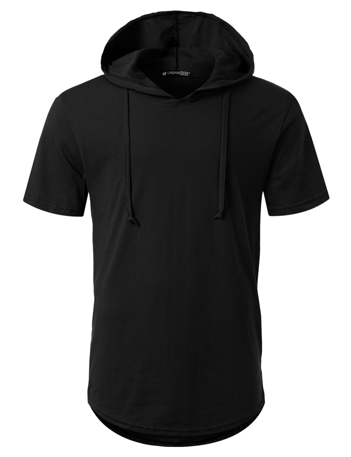 URBANCREWS Mens Hipster Hip Hop Longline Pullover Short Sleeve Hooded Shirt