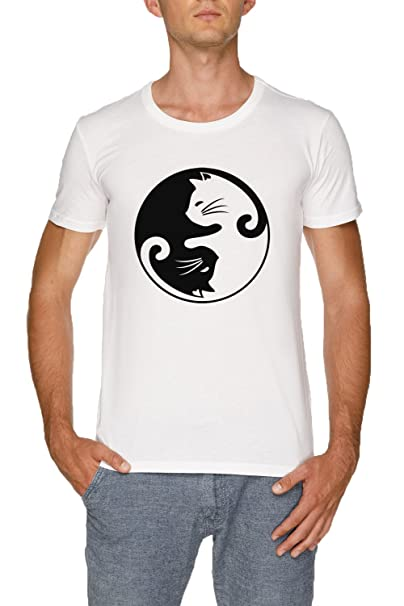 Jergley Gato Ying Yang Camiseta Blanco Hombre Tamaño XXL | MenS White T-Shirt Size