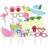 SUNBEAUTY Sommerfest Fotorequisiten 12er Set Booth Props Flamingo Foto Requisiten