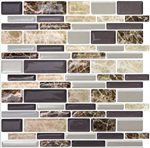 "10 Sheets Peel and Stick Kitchen Backsplash - 12"" x 12"" Premium Tile Backsplash 3D Wall Tiles"