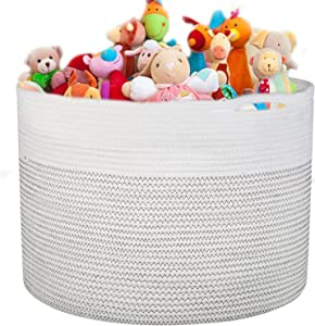 "homyfort Baby Toy Chests Storage Bin,Extra Large Nursery Laundry Organizers,Thread Cotton Rope Basket, Towels,Dirty Clothes-21.7"" x 13.8"""