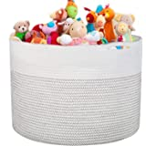 """Large Cotton Rope Basket 16.93""""x16.54"""" Woven Baby Laundry Hamper for Blankets Toys Storage with Handle Natural Color…"""