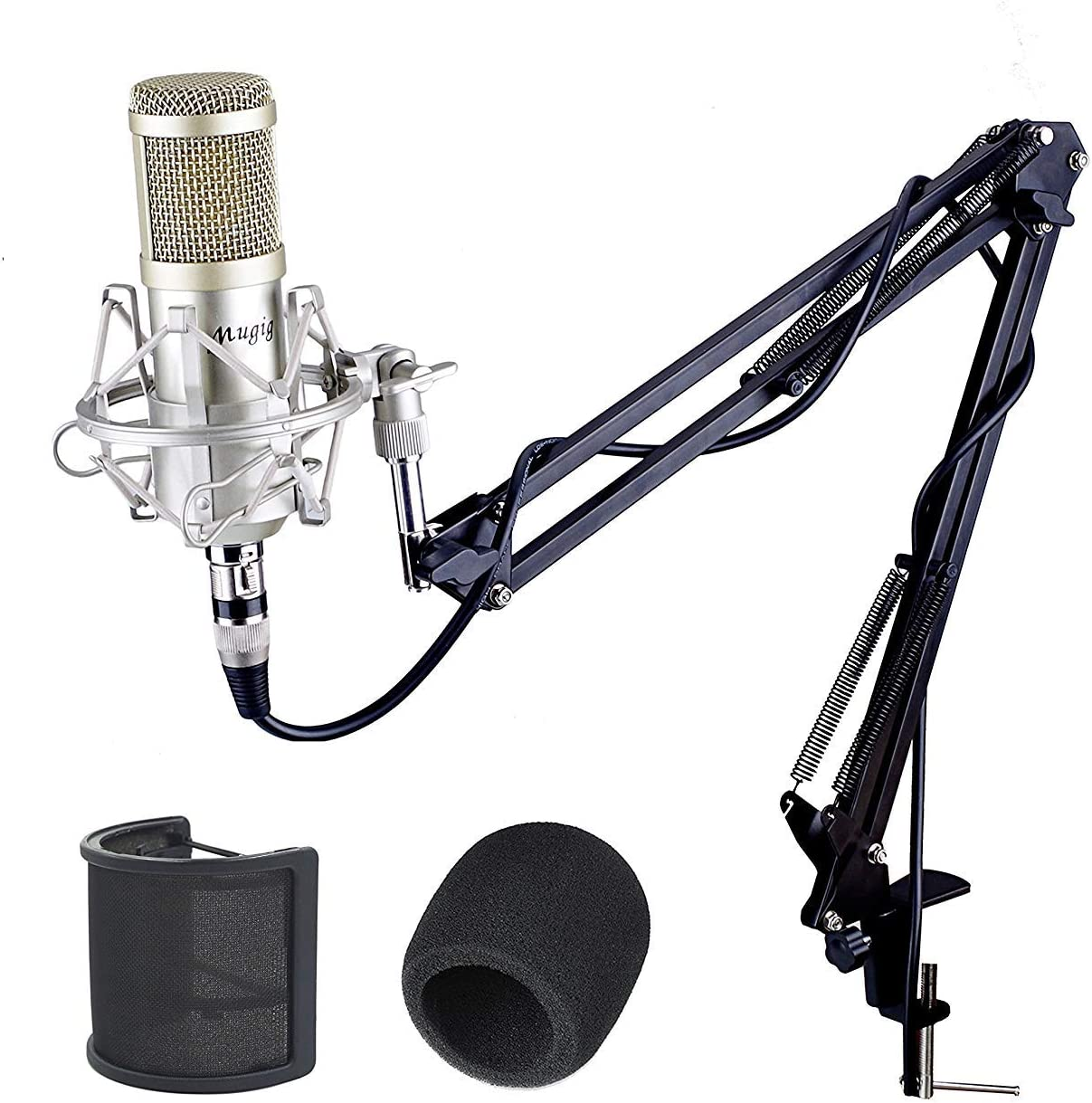 Mugig Condenser Microphone Professional Studio Microphone with Scissor Arm Stand// 3.5mm XLR Cable//Shock Mount//Pop Filter for Professional Studio Recording Podcasting Broadcasting