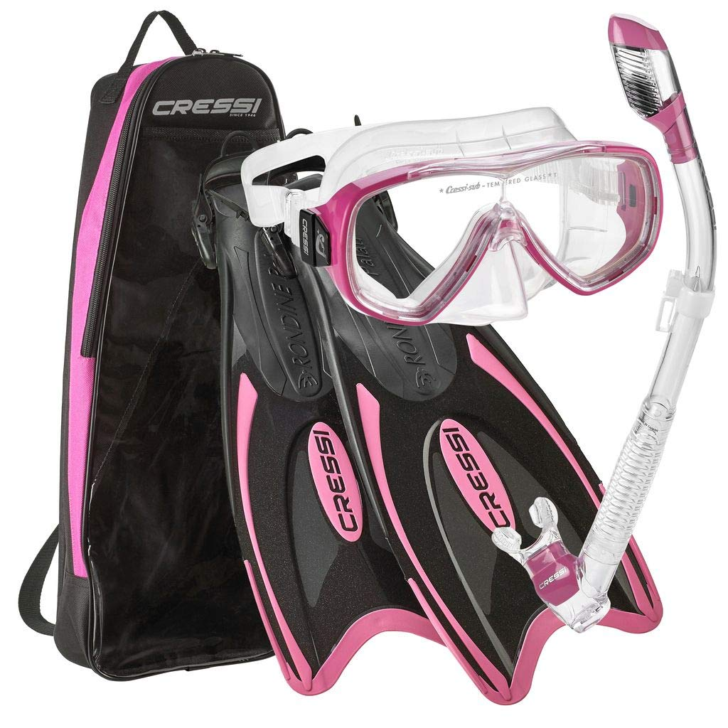 Cressi Palau Long Onda Dry Snorkel Deluxe Bag Mask Fin Snorkel Set - Pink - XS by Cressi