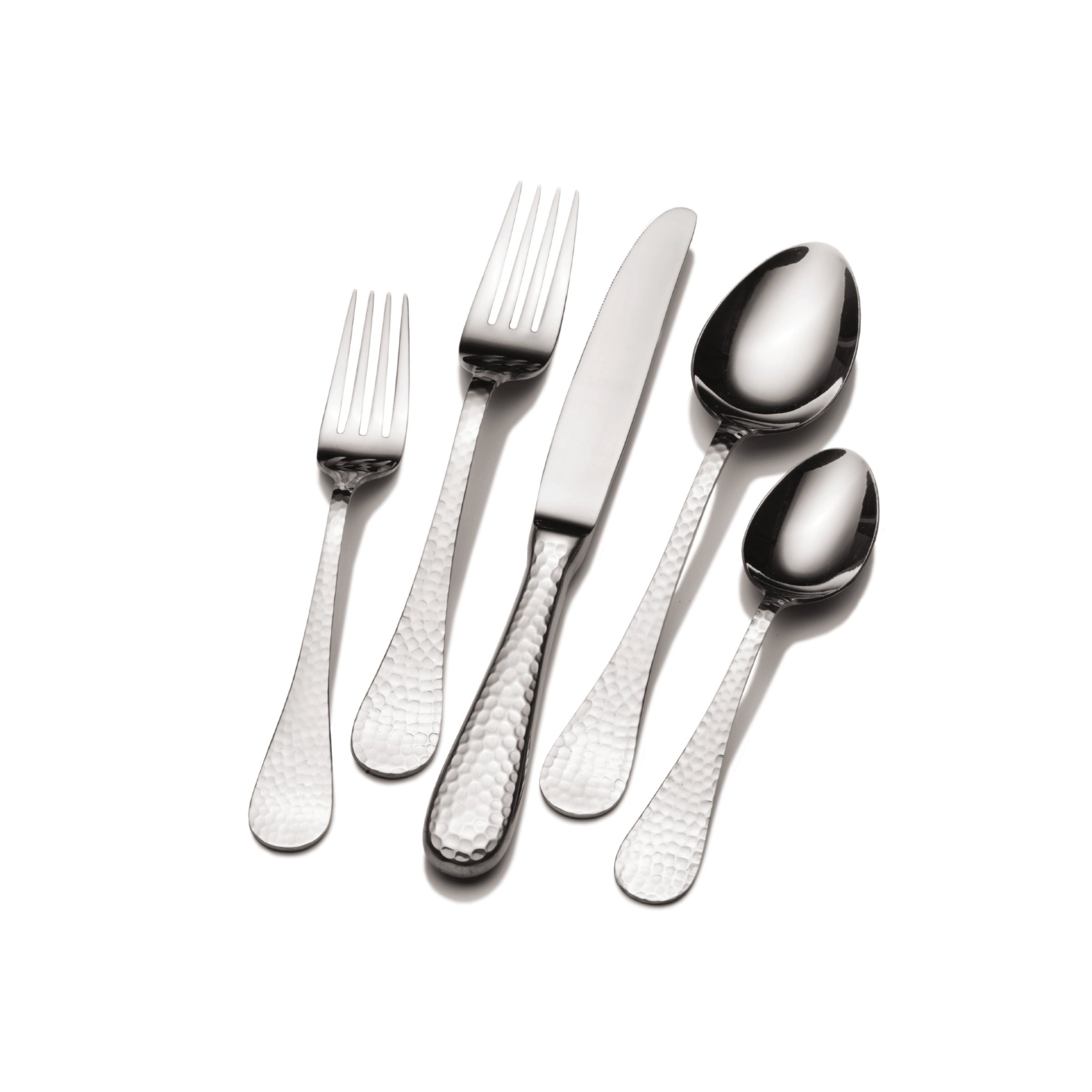 Towle Living 5201344 Continental Hammered 102-Piece 18/10 Stainless Steel Flatware Set with Serveware, Service for 12 by Wallace