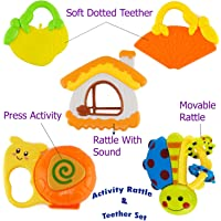 WISHKEY Colorful 3 Rattles and 2 Teethers Toys Set