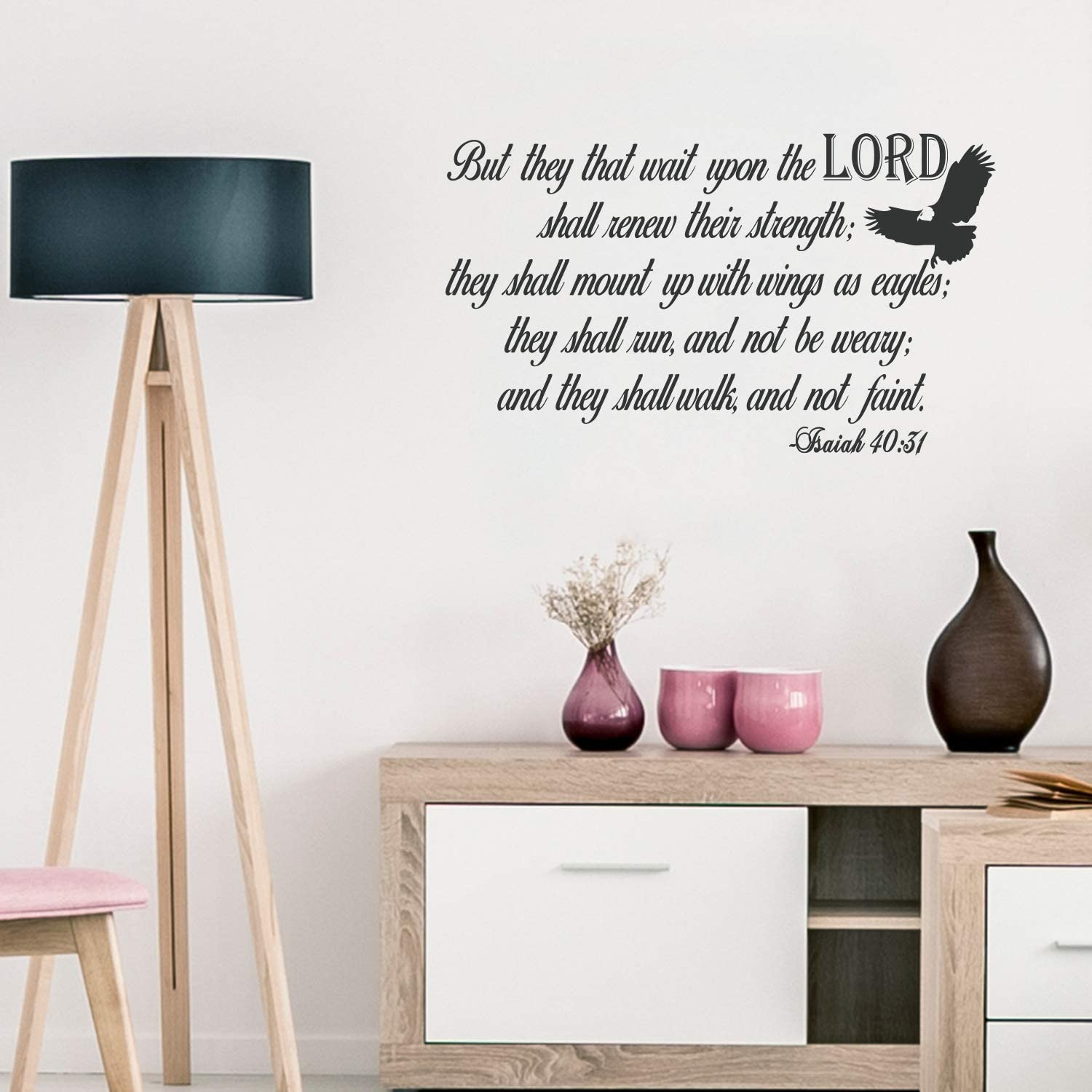 """Vinyl Wall Art Decal - Isaiah 40:31-17.5"""" x 30"""" - Religious Bible Verse Quote Sticker for Bedroom Living Room Kids Room Office Church Decor"""