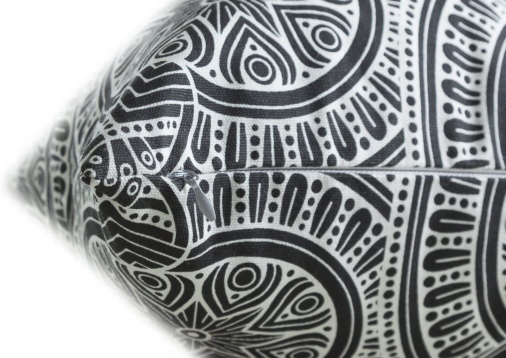 40 x 40 cm, Noir TreeWool, Lot de 2 d/écoratifs Housses de Coussin en Toile de Coton /à Motif Mandala