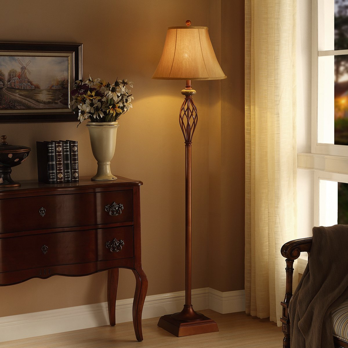 """Floor Lamp for Living Room, Bedrooms, 60.5""""H Royal Bronze Finish, Traditional Iron Scroll Uplight, Family Room or Office Standing Floor Lamp"""
