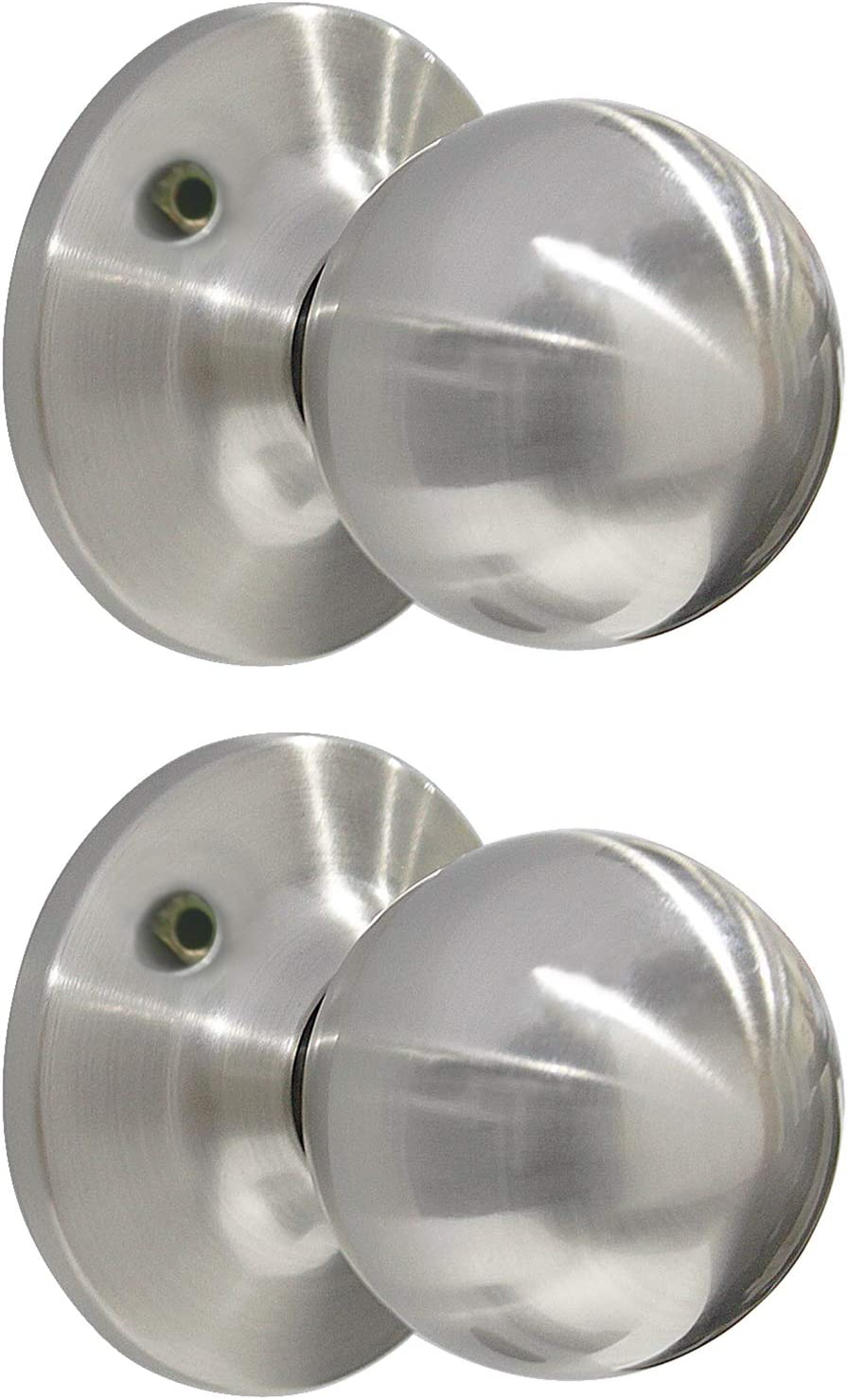 5 Pack Probrico Round Dummy Door Handle On Rose Stainless Steel Interior Door Knob Brushed Nickel Base Diameter 65mm 2-1//2 inch
